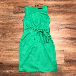 Green The Limited M tweed waist tie office dress